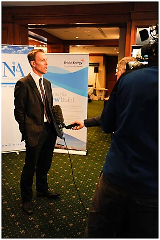 Jim Murphy being interviewed for the news
