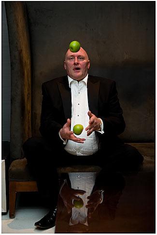 Award winner Craig Stevenson juggles apples