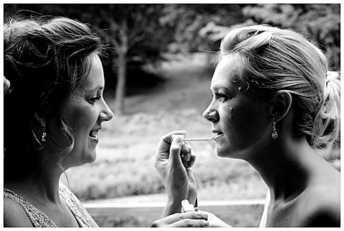 Last minute lip touch up from sister.