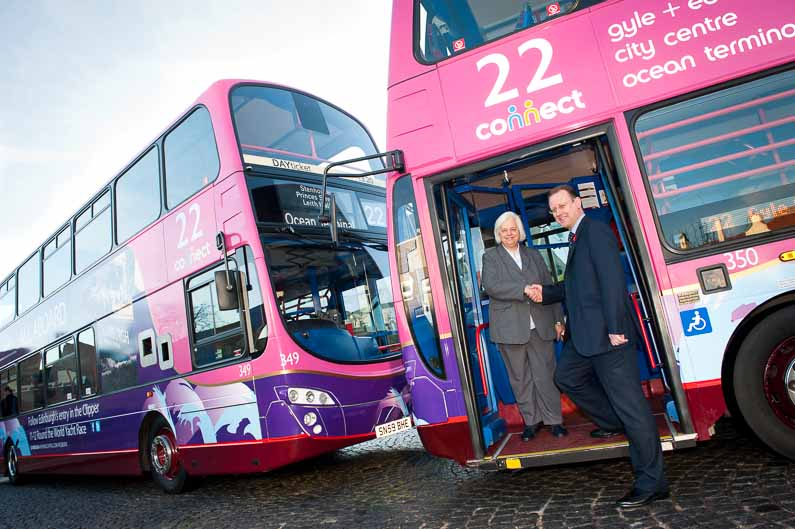 Launch of two Lothian Buses liveried with Clipper Races